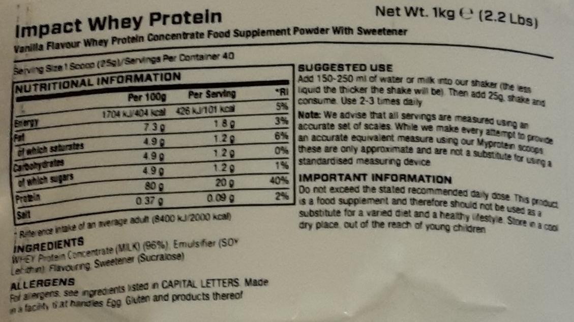 Impact Whey Protein - Myprotein - Amino